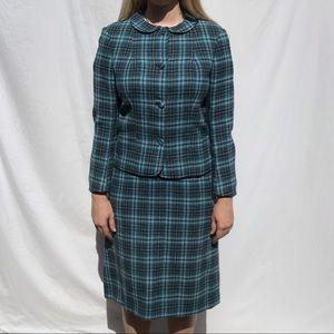 Vintage Gala Forest 50s Plaid Wool Skirt Suit